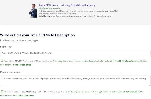 Ardor SEO Website Metadata Length Checker